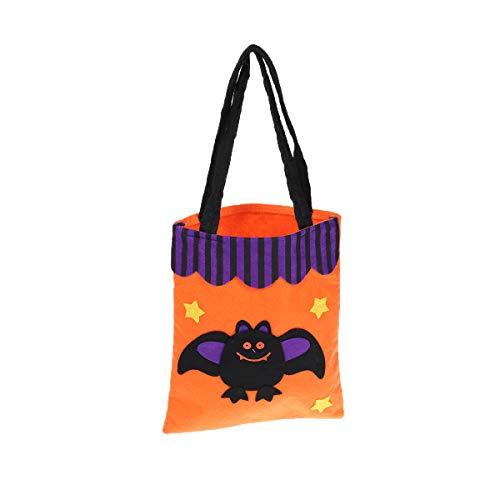 Healifty Wiederverwendbare Printed Candy Handtaschen für Halloween-Party (Orange Bat)