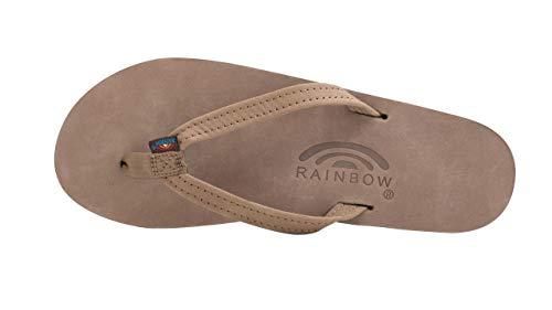 Rainbow Sandals Women's Single Layer Premier Leather Narrow Strap, Dark Brown, Ladies Small / 5.5-6.5 B(M) US