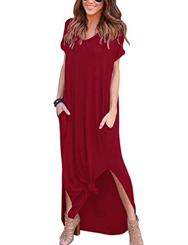 AKEWEI Long Dresses for Women Casual,Short Sleeve Split Maxi Dresses & Casual Dresses with Pockets(Wine Red,L)