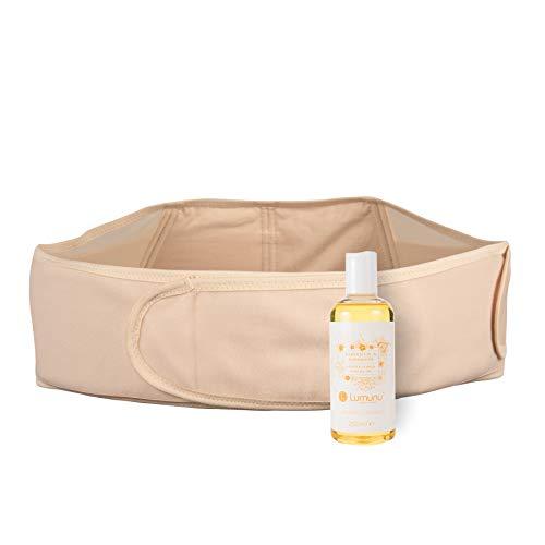 Deluxe Schwangerschafts-Set mit verstellbarem Babybauch-Gurt mit Rückenunterstützung (S-XXL) & 100% natürlichem Babybauch-Öl (250ml), Geschenkset für Schwangere inkl. Grußkarte, von Venize