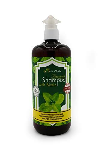 Peppermint Shampoo with Biotin, Aloe Vera, Vitamins & Green Tea (16.9 Fl Oz) | Hair Thinning, Volumizing & Refreshing Shampoo | Hair Growth Stimulating Formula for Invigorating Scalp