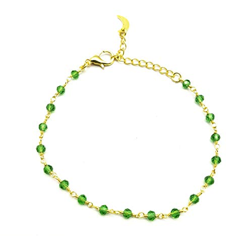 Gems-World Birthstone Bracelets Green Chrome Diopside Quartz 3 mm Rondelle Faceted Gold Filled 8 Inch