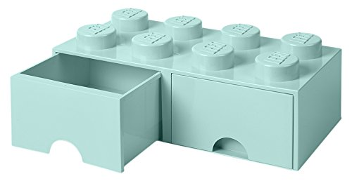 LEGO 4006 Brick 8 Knöpfe, 2 Schubladen, stapelbar Aufbewahrungsbox, 9,4 l, (Mint grün), Plastik, Legion/Aqua Light Blue, 50 x 25 x 18 cm