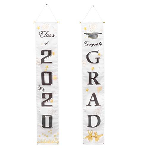 PRETYZOOM 1 Paar Afstuderen Banner Klasse Van 2020 Deur Vlag Voordeur Gordijn Afstuderen Afdrukken Veranda Teken Brief Afdrukken Opknoping Teken