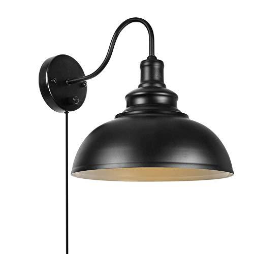 Dimmbare Wandleuchte mit Schalter und Stecker Schnur Wandmontage Wandbeleuchtung E27 Leseleuchte Schwarz Wandlampe Industrie Vintage Nachttischlampe
