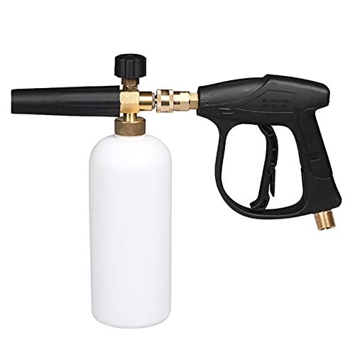 ZIEM 1/4 inch drukschuim-wassysteem, Jet Car Wash, instelbare sproeier, 1 liter fles, sproeier, handmatige pompzuigmond, hogedrukluchtpompspray voor binnen en buiten