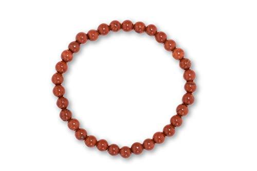 Taddart Minerals - rood bruin armband van natuurlijke edelsteen jaspis met 6 mm kogels op elastische nylondraad gespannen - handgemaakt