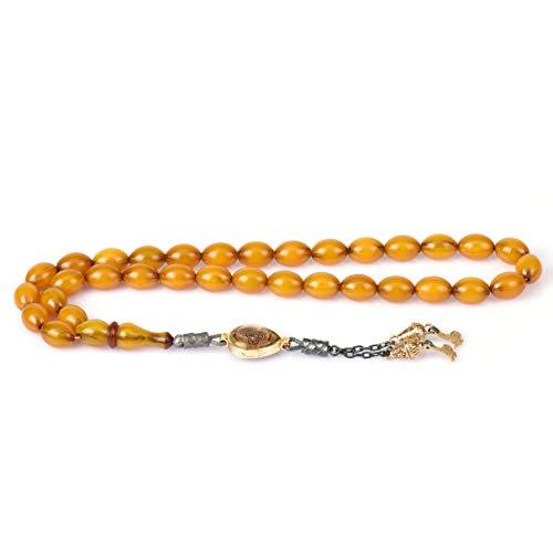 Remi Bijou 925 Sterling Silber Gebetskette - Tesbih Bernstein Imitation - mit Tugra Anhänger