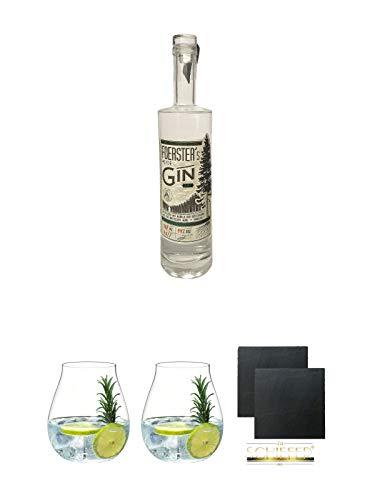 Foersters Heide Gin 0,5 Liter + Gin Tonic Glas - 5414/67 + Gin Tonic Glas - 5414/67 + Schiefer Glasuntersetzer eckig ca. 9,5 cm Ø 2 Stück