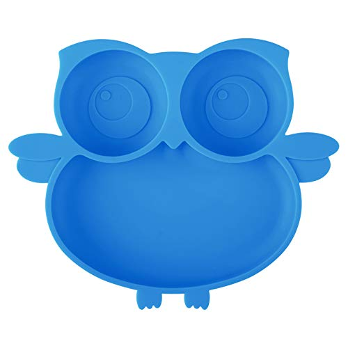Kirecoo Owl Silicone Suction Plate - Self Feeding Training Storage Divided Plate, Baby Toddler Bowl and Dish, Fits for Most Hairchairs Trays, Microwave Dishwasher Safe (Blue)