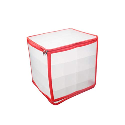 Christmas Ornament Storage Box, Transparent PVC Holiday Xmas Ornaments Decorations Organizer Container Tote Chest with Removable Inner Partitions Handles and Zippered