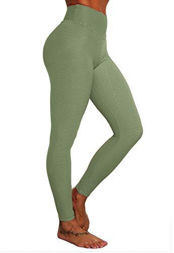 FITTOO Leggings Mujer Delicado Tejido Jacquard Textura Tira Horizontal Pantalones Deportivos Yoga Alta Cintura Elásticos Verte Chica