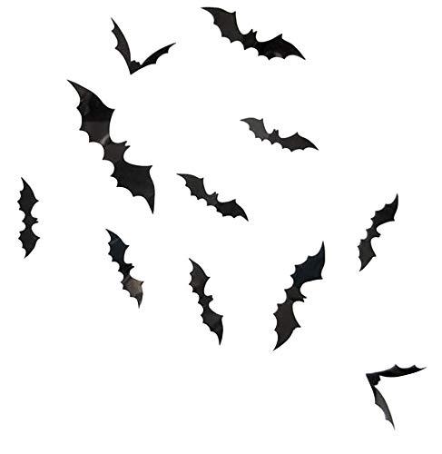 WOYAOFEI Adesivi per il fai da te di Halloween e feste in PVC, 3D, colore nero, 12 pezzi, adesivi da parete, 4 misure diverse, decorazione per la casa e la finestra