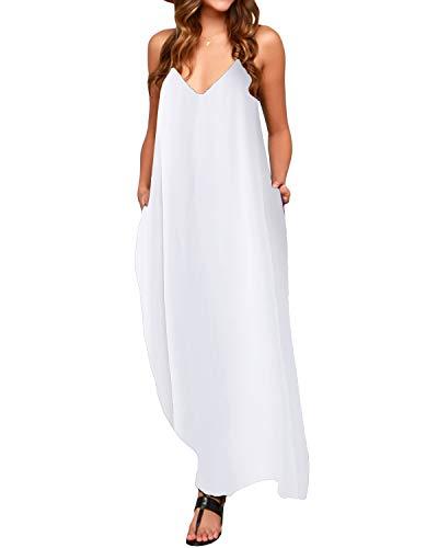 ACHIOOWA Mujer Vestido Elegante Playa Casual Dress Cuello V Sin Manga Túnica Sin Hombros Escote Punto Bolsillo Caftán Oversize Falda Larga Blanco XL