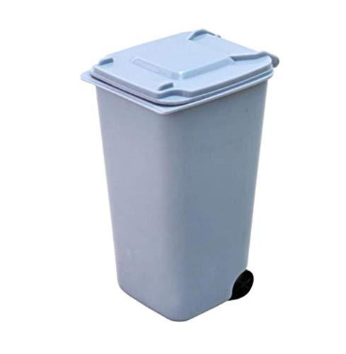 Mackur Mini-Abfalleimer, Kunststoff, mit Deckel, 16 x 10,5 x 8 cm, für Küche, Wohnzimmer, Büro, Tisch, Mülleimer, 1 Stück, plastik, blau, 16*10.5*8CM