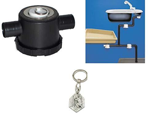 Zisa-Kombi Ablauf für Siphon Abwassersystem, 33mm (93298865167) mit Anhänger Herz Jesu 2,5cm