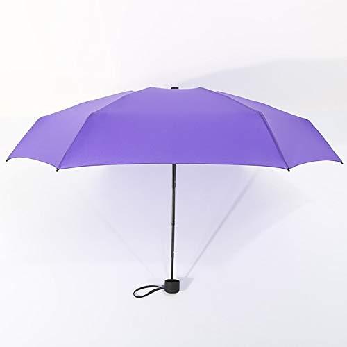 MAWA Mini Paraguas De Bolsillo para Mujer UV Paraguas Pequeños 180g Lluvia Mujer Impermeable para Hombre Parasol para El Sol Práctico Viaje para Niñas Parapluie Kid - Morado, a2