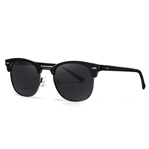 kimorn Polarizado Gafas de sol Unisex Retro Semi-Rimless marco gafas clásicas AE0550 (Negro, 52)