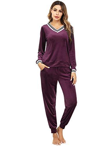 Irevial Damen Velours Hausanzug Nicki Schlafanzug Lang Winter Weicher Pyjama Anzug Set Zweiteiliger Flanell Trainingsanzug Oberteil und Hose mit Taschen Rotwein M