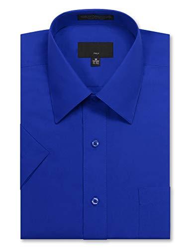 Allsense Men's Regular Fit Short Sleeve Dress Shirts 15-15.5N Medium Royal Blue