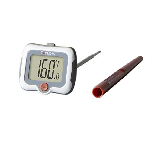 Taylor Precision Products Pivoting Head Instant Read Digital Meat Food Grill BBQ Cooking Kitchen Thermometer with Protective Sleeve, Gray