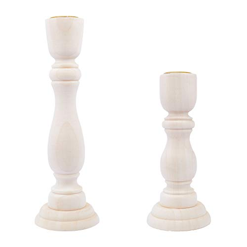 GORGECRAFT 2PCS Candelieri in Legno Non Finiti 7 Pollici e 5 Pollici con Portacandele in Legno Classici da 0.8 Pollici per Decorazioni di Nozze Domestiche