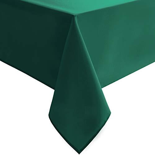 Mantel rectangular Homedocr resistente a las manchas, a prueba de derrames y lavable., verde esmeralda , 54'x80'