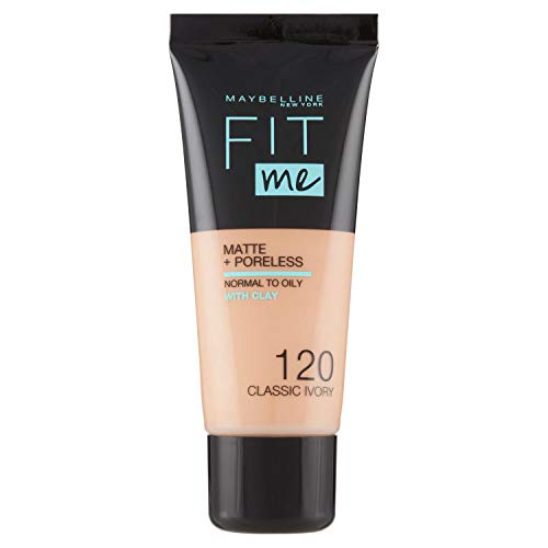 Maybelline New York, Base de Maquillaje que Calca a tu Tono Fit me! Mate y Afinaporos, Color: 120 Classic Ivory