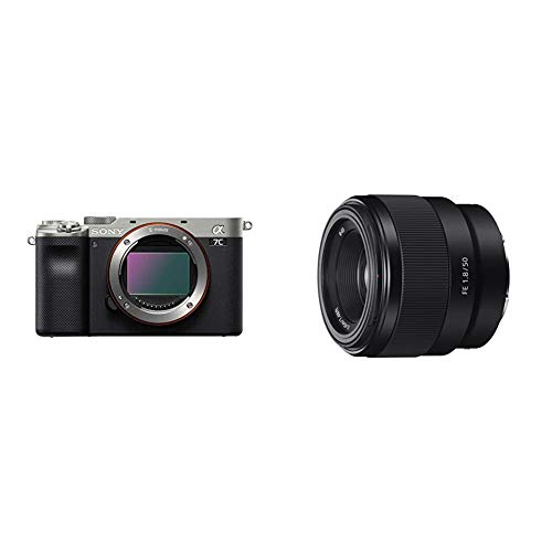 Sony Alpha 7C Full-Frame Mirrorless Camera - Silver with Sony - FE 50mm F1.8 Standard Lens (SEL50F18F/2)