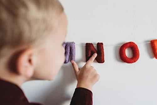 Nivas Alphabet Garland/Alphabet Banner/ABC Decor/Toddler Room Wall Hanging/Teepee Decorations/Felt Banners/Natural Wool Felt/Nursery Decor/Baby Room (Rainbow)