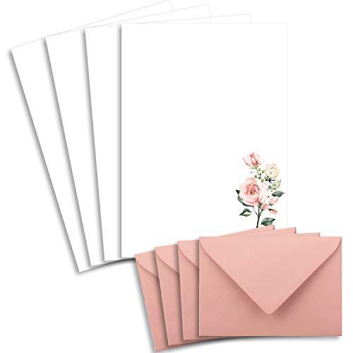 25 Briefbogen-Sets DIN A4 - Naturpapier in Creme mit Rosenzweigen - mit Briefumschlägen DIN C6 in Altrosa Briefpapier bedruckbar ideal für Hochzeitseinladungen