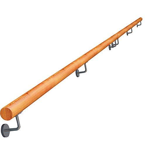XGF® Handlauf, Komplettset Für Drinnen Und Draußen, Hölzerne Treppen Treppengeländer Geländer Schiene Unterstützung - Mit Edelstahlstütze