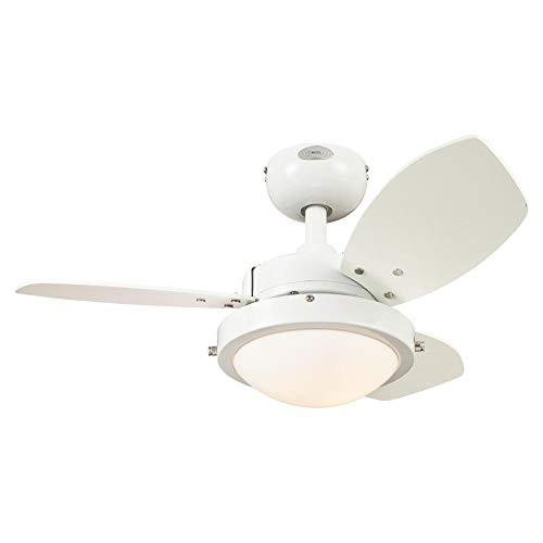Westinghouse Lighting 7233300 Wengue Ceiling Fan with Light, 30 Inch, White