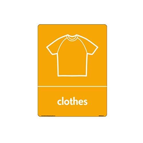 WRAP Recycle Kleding Teken met T-Shirt Icon Tekenen - WRAP Recycle Tekenen Stickers Zelfklevende Vinyl Waarschuwing Stickers voor Eigendom voor Werkplek voor Kantoor, Thuis,200mm x 300mm