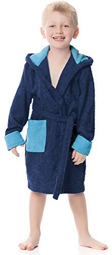 Ladeheid Kinder Frottee Bademantel aus 100% Baumwolle LA40-103 (Marineblau/Jeans (D12/D03), 98-104)