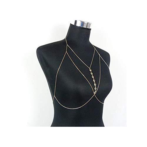 PENGHU SDSF Summer Beach Body Chain Jewelry for Women Fashion Pendant Rhinestone Bikini Bra Body Chain Gold Chest Chain Accessories