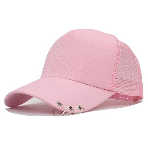 DGFB Gorra De Béisbol De Malla para Mujer con Anillos Snapback Sombreros Gorras para Mujer Verano Hip Hop Casquette Girls Bone Solid Dad Cap Hat