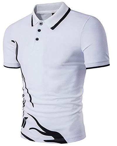 MODCHOK Herren T-Shirt Kurzarm Shirt Poloshirt Polohemden Knopfleiste Slim Fit 1 Weiß Small