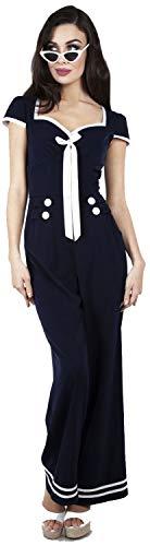 Voodoo Vixen Damen Overall Jolene Nautical Retro Jumpsuit Blau M