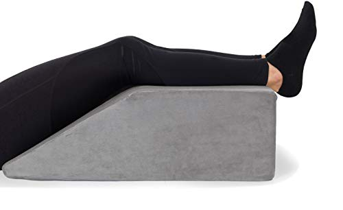 Leg Elevation Pillow - with Full Memory Foam Top, High-Density Leg Rest Elevating Foam Wedge- Relieves and Recovers Foot and Ankle Injury, Leg Pain, Hip and Knee Pain, Improves Blood Circulation, Grey
