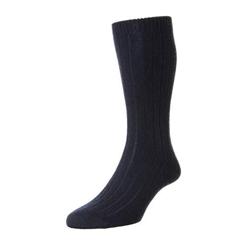 Herren 1 Paar Panther 85prozent Cashmere Rib Socks In 7 Colours - 9-11 Mens - Marine