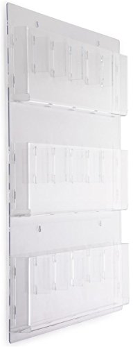 """Displays2go Clear Acrylic Hanging Magazine Rack with Adjustable Pockets, 29x35"""" (RP9CLR)"""