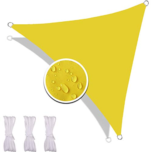 Redfire Sonnensegel Dreieckig Wasserdicht 3X3X3M, Umweltfreundlich Sonnenschutzsegel Unter Pavilion Oxford-Stoff Inkl Befestigungsseile Windschutz für Carport Gelb