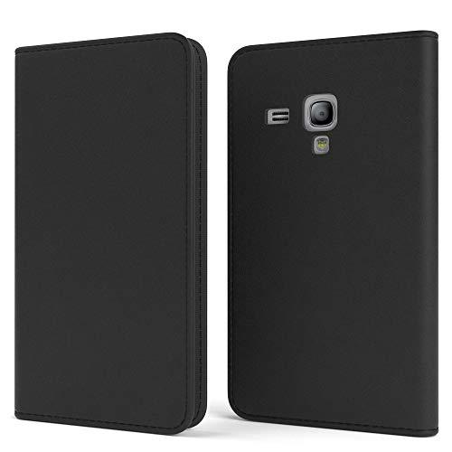 EAZY CASE Tasche für Samsung Galaxy S3 Mini Vintage Schutzhülle mit Standfunktion Klapphülle im Bookstyle, Handytasche Handyhülle Flip Cover mit Magnetverschluss und Kartenfach, Kunstleder, Schwarz