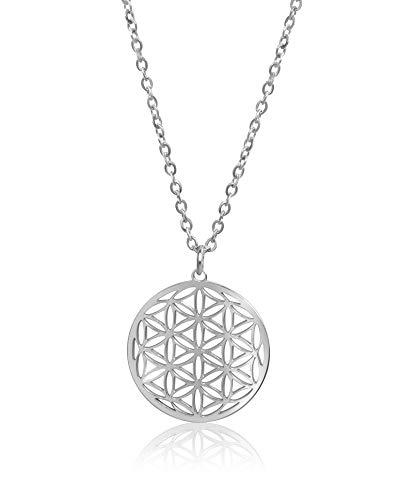 Nuoli® Lebensblume Kette Damen Silber (45 + 5cm verstellbar) Halskette mit Blume des Lebens Anhänger für Frauen & Mädchen, aus Edelstahl