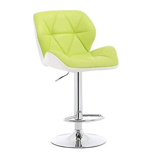 JPL Bar,Cafe,Restaurant Chair,Breakfast Chair Bar Chair, Rotating Lift Bar Stool, Backrest Pu Chrome Footrest Height Adjustable 55-75Cm, Green Home Kitchen Counter Bar