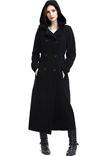 BGSD Women's Mariel Wool Blend Hooded Long Coat, Black, Plus Size 2X
