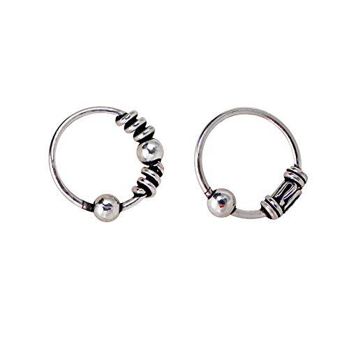 2 anelli per naso piccoli e sottili tipo Bali, in argento Sterling, con sfera di chiusura, diametro interno 7 mm, spessore 0,6 mm, 2 diversi motivi Bali.