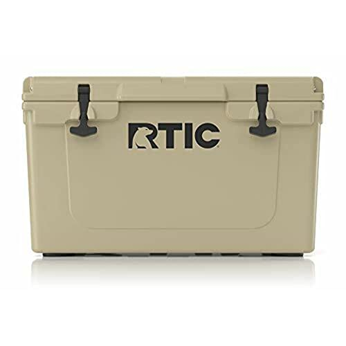 RTIC Hard Cooler, 45 qt, Tan, Ice Chest with Heavy Duty Rubber Latches, 3 Inch Insulated Walls
