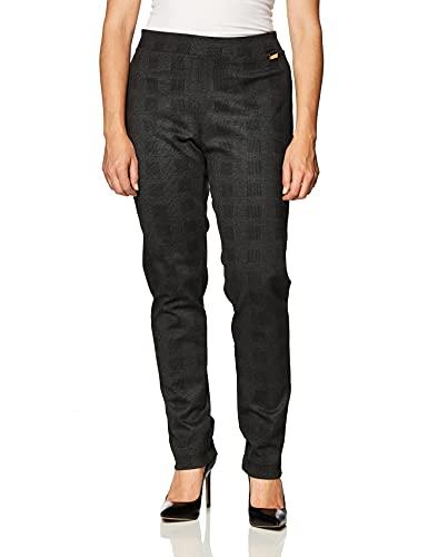 Calvin Klein Women Pull On Stretch Pants (Standard and Plus), Cropped Glen Plaid, Medium